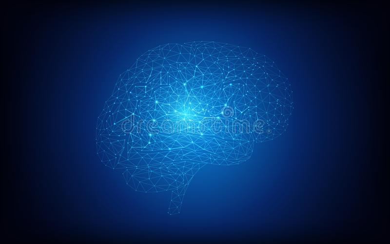Concepto del cerebro humano y de la inteligencia artificial en fondo azul marino stock de ilustración