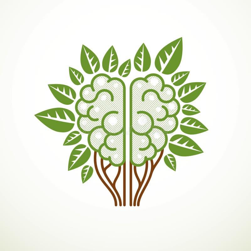 Concepto del cerebro del ?rbol, la sabidur?a de la naturaleza, evoluci?n inteligente Cerebro anat?mico humano en una forma del ?r libre illustration
