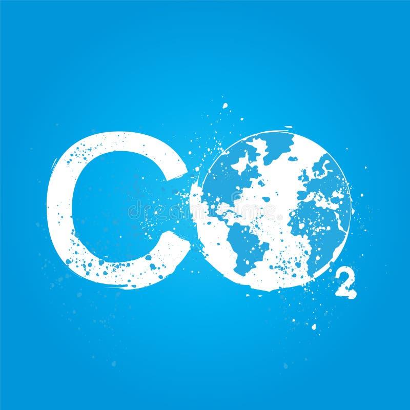 Concepto del CO2 del Grunge ilustración del vector