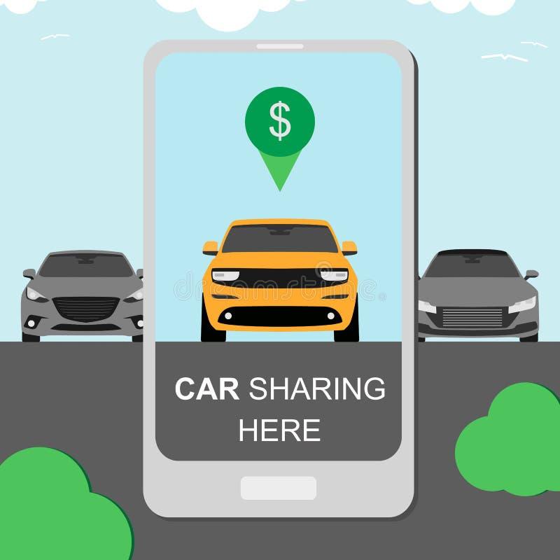 Concepto del coche compartido alquilando y carpooling la bandera con smartphone ilustración del vector