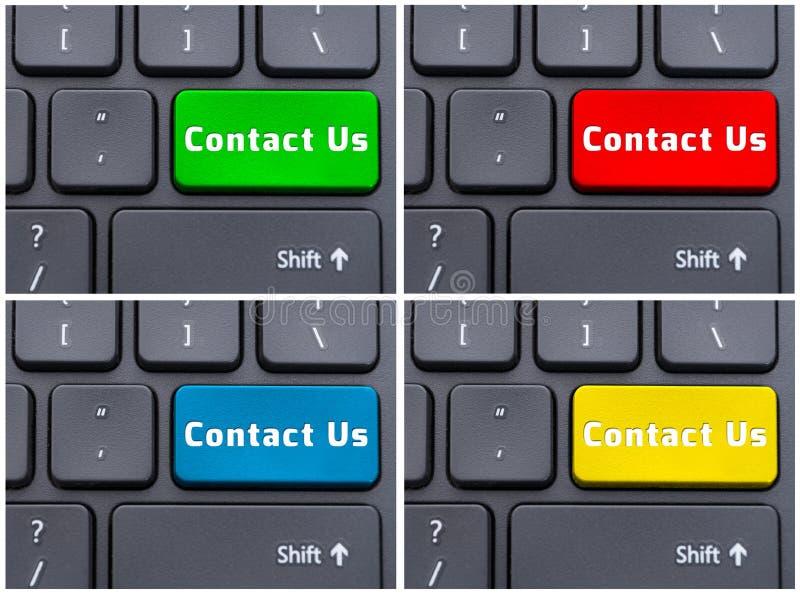 Concepto del collage de contacto nosotros botón en el teclado stock de ilustración