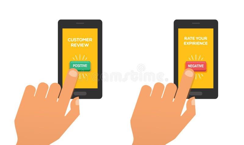 Concepto del comentario del cliente Prensa de la mano el botón del grado Reacción, reputación y concepto de la calidad Ilustració stock de ilustración
