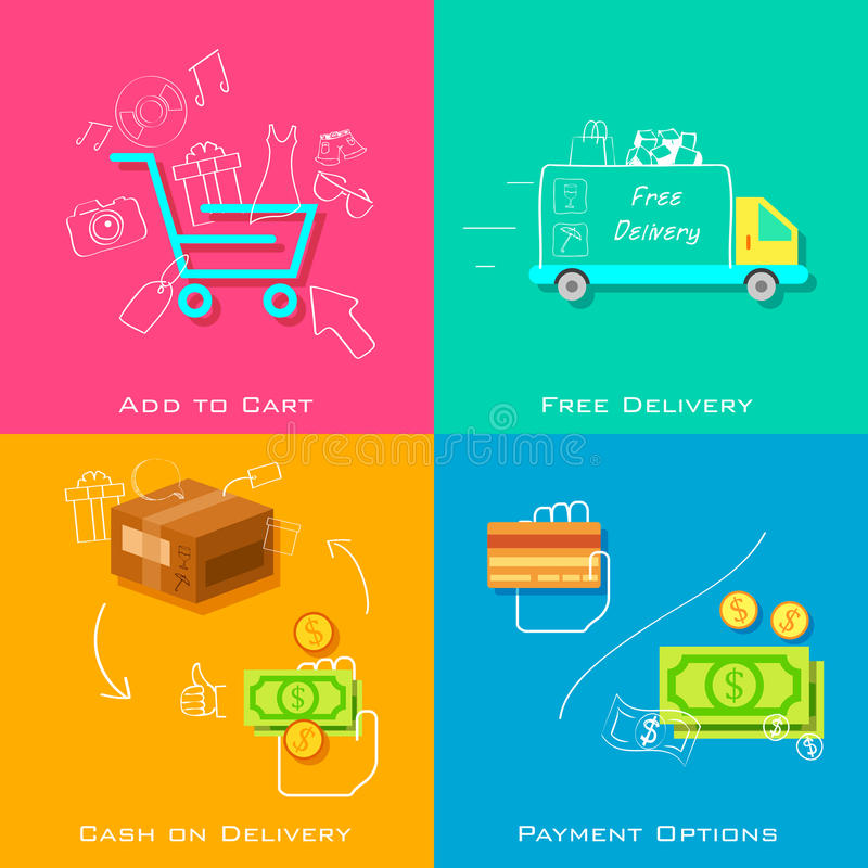 Concepto del comercio electrónico ilustración del vector