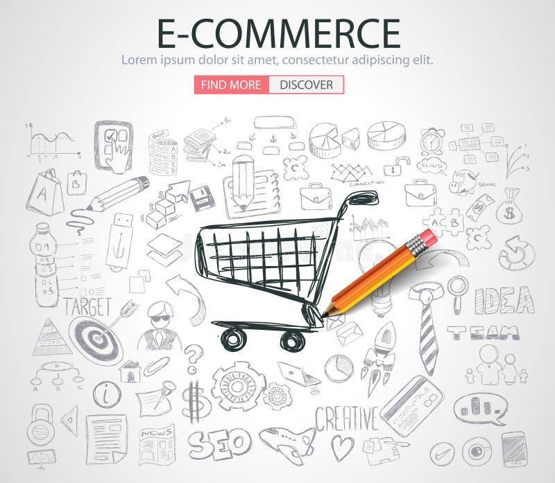 Concepto del comercio electrónico con estilo del diseño del garabato stock de ilustración