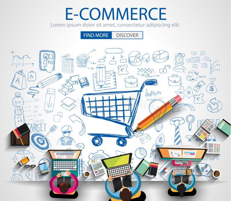 Concepto del comercio electrónico con estilo del diseño del garabato: en la línea márketing libre illustration