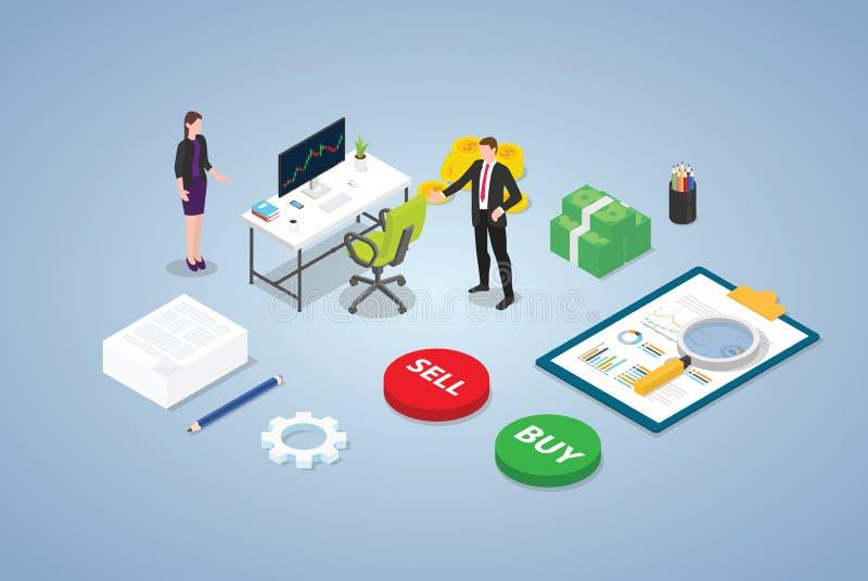 Concepto del comercio del mercado de acción del comerciante con la gente del equipo del hombre de negocios y un ciertos datos del libre illustration