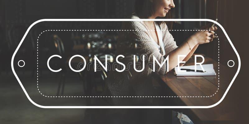 Concepto del comprador de la satisfacción del servicio de atención al cliente del consumidor fotografía de archivo