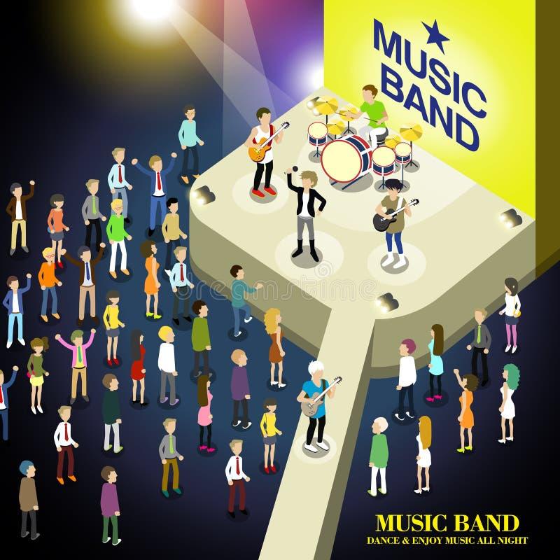 Concepto del concierto de la banda de la música ilustración del vector