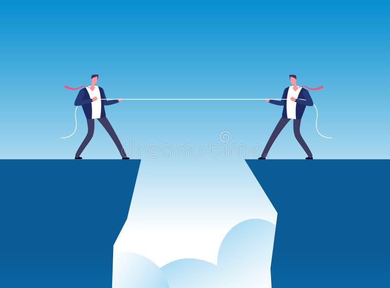 Concepto del conflicto Cuerda de tracción de los hombres de negocios sobre precipicio Fondo del vector de la rivalidad y de la co ilustración del vector