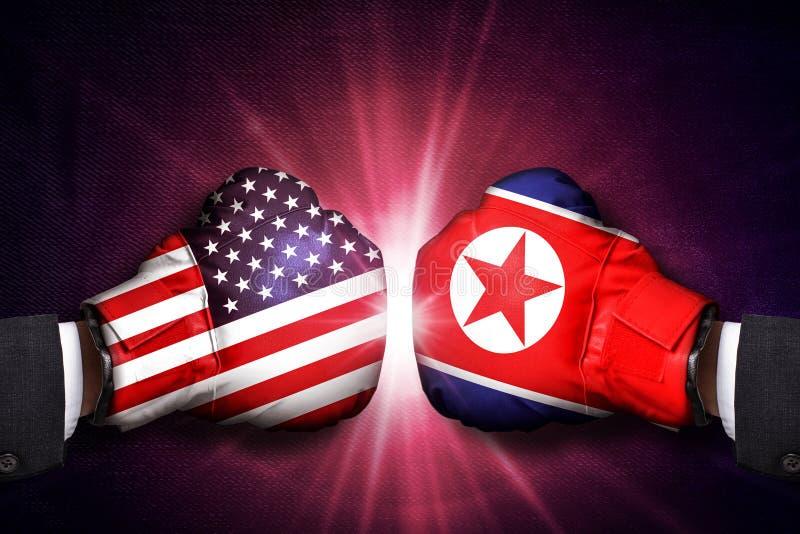 Concepto del conflicto diplomático y militar entre Corea del Norte y los E.E.U.U. fotos de archivo libres de regalías