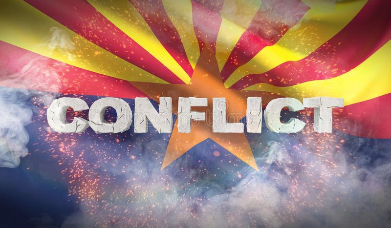 Concepto del conflicto Estado de la bandera de Arizona Indicadores de los estados de los E ilustración 3D ilustración del vector