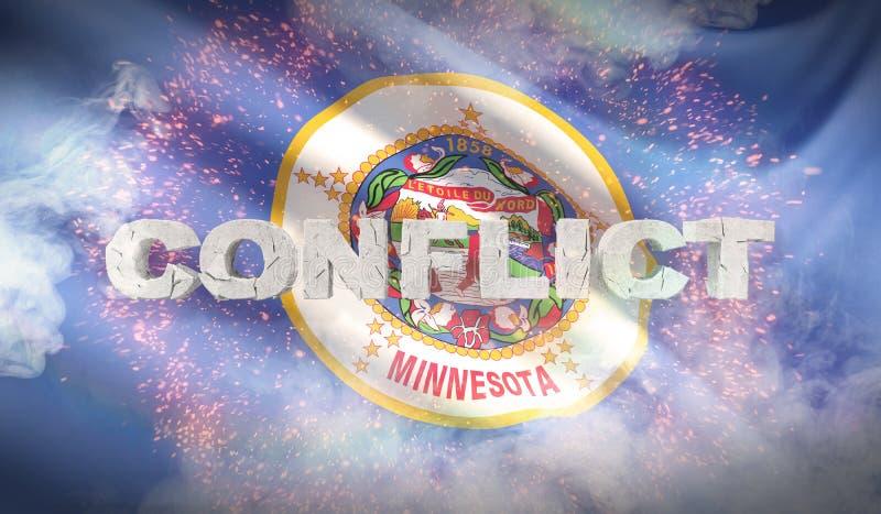 Concepto del conflicto Estado de la bandera de Minnesota Indicadores de los estados de los E ilustración 3D stock de ilustración