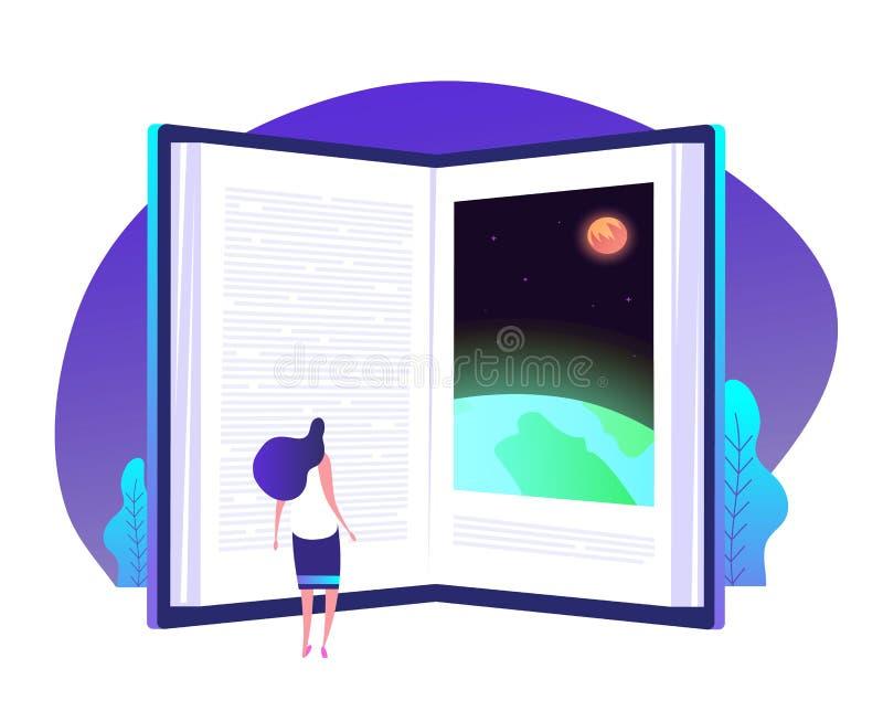 Concepto del conocimiento del libro Puerta de los libros a la educación de la biblioteca global del conocimiento que enseña apren libre illustration