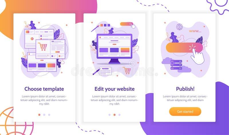 Concepto del constructor de la página web ilustración del vector