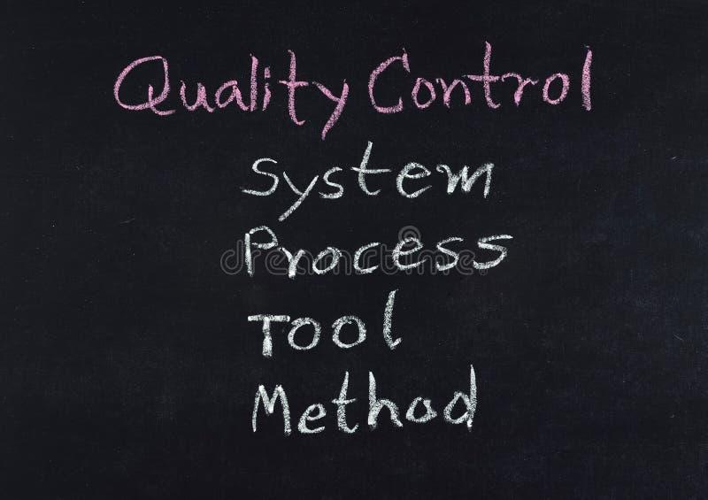 Concepto del control de calidad (sistema - proceso - herramienta - método) imagen de archivo libre de regalías