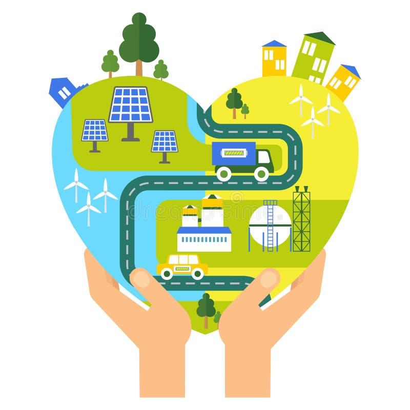 Concepto del corazón de Eco stock de ilustración