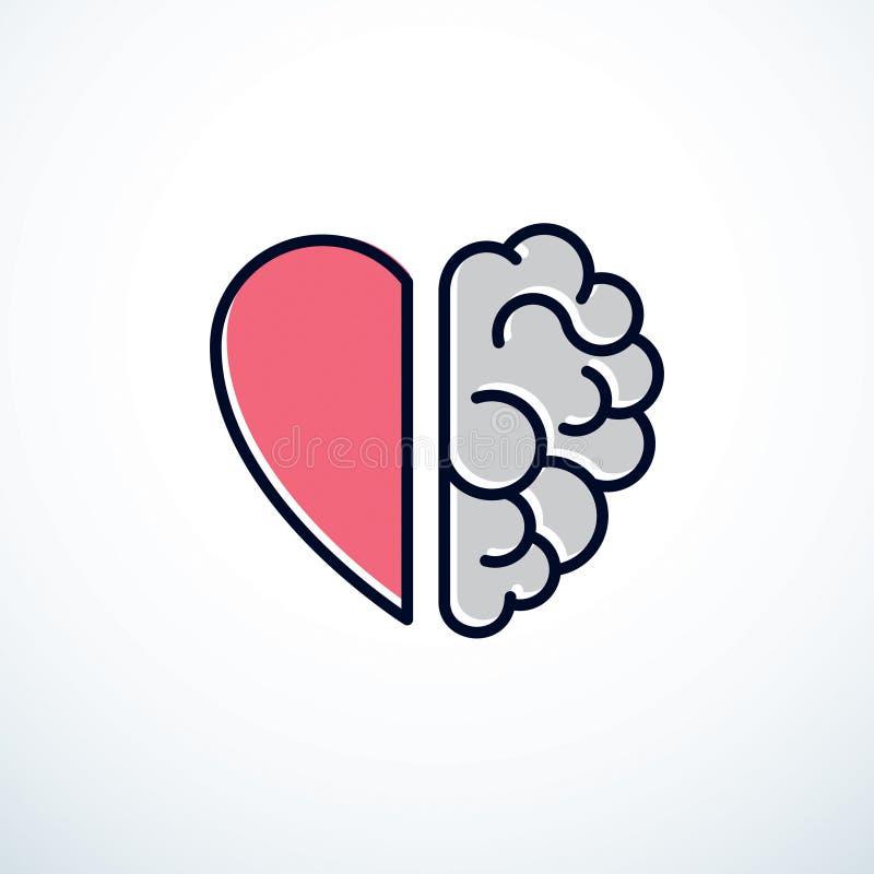 Concepto del corazón y del cerebro, conflicto entre las emociones y racional ilustración del vector