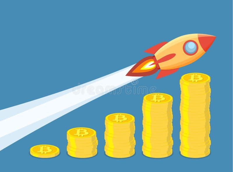 Concepto del crecimiento de Bitcoin ilustración del vector