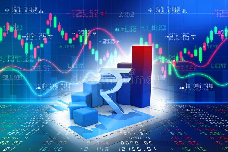 Concepto del crecimiento de la acción de la rupia india ilustración 3D libre illustration