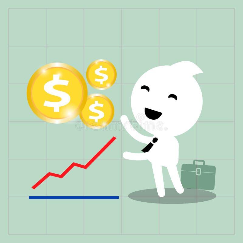 Concepto del crecimiento de la inversión empresarial en fondo del gráfico stock de ilustración