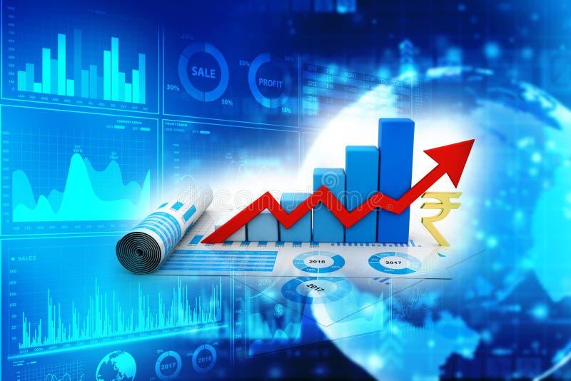 Concepto del crecimiento de la rupia india Concepto de la fluctuaci?n del mercado de la rupia representaci?n 3d stock de ilustración