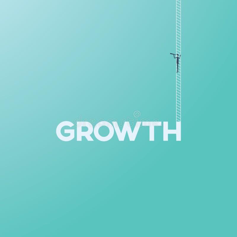 Concepto del crecimiento del negocio con el hombre de negocios en una escalera que mira a través de un monóculo Futuro del negoci ilustración del vector