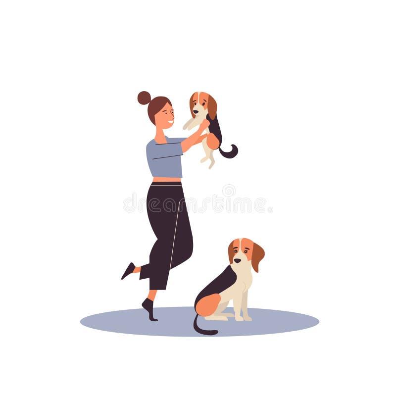 Concepto del criador de perros Ejemplo plano aislado del vector de la historieta imagen de archivo