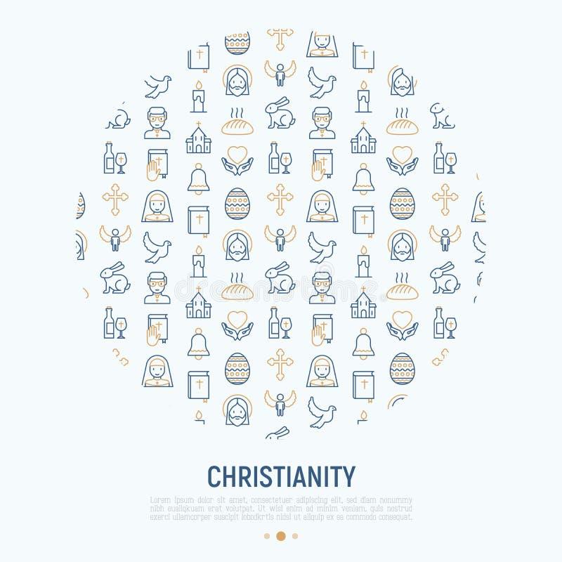 Concepto del cristianismo en círculo stock de ilustración