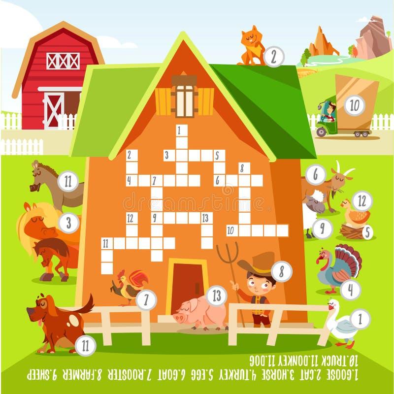 Concepto del crucigrama del juego con alrededor los animales del campo stock de ilustración