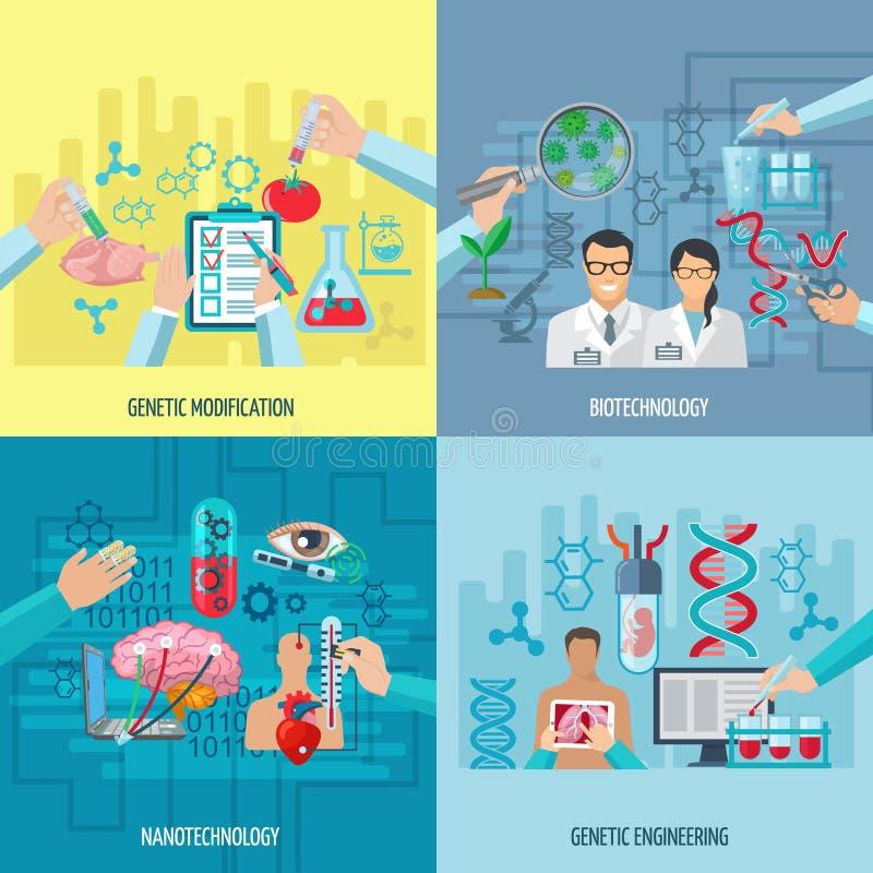 Concepto del cuadrado de la composición de los iconos de la biotecnología libre illustration