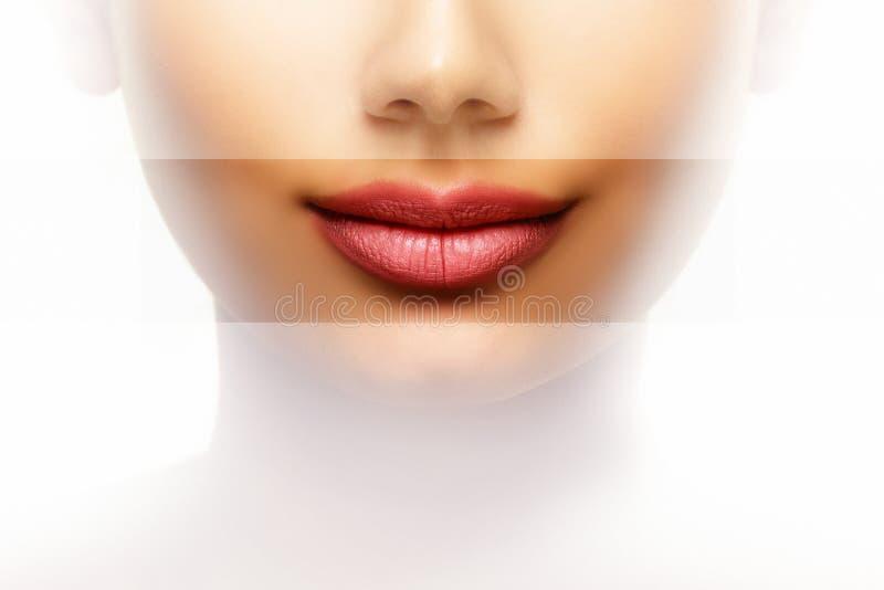 Concepto del cuidado de la belleza de los labios de mujer con la boca perfecta fotografía de archivo