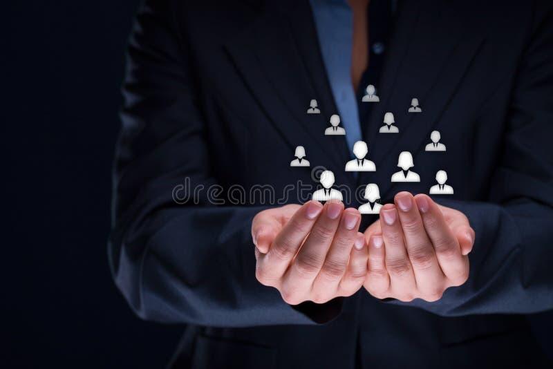 Concepto del cuidado del cliente o de los empleados imágenes de archivo libres de regalías
