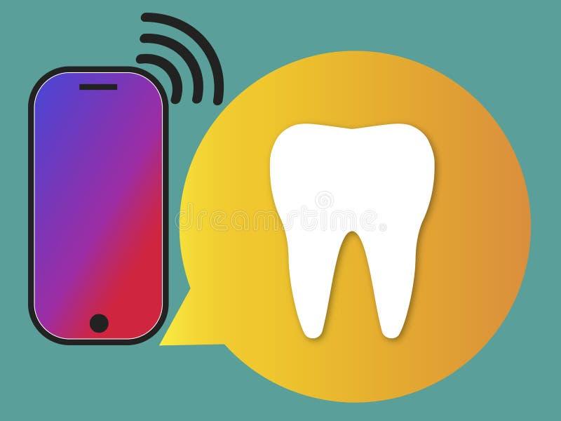 Concepto del cuidado dental Centro de atención telefónica de la información de servicio dental ilustración del vector