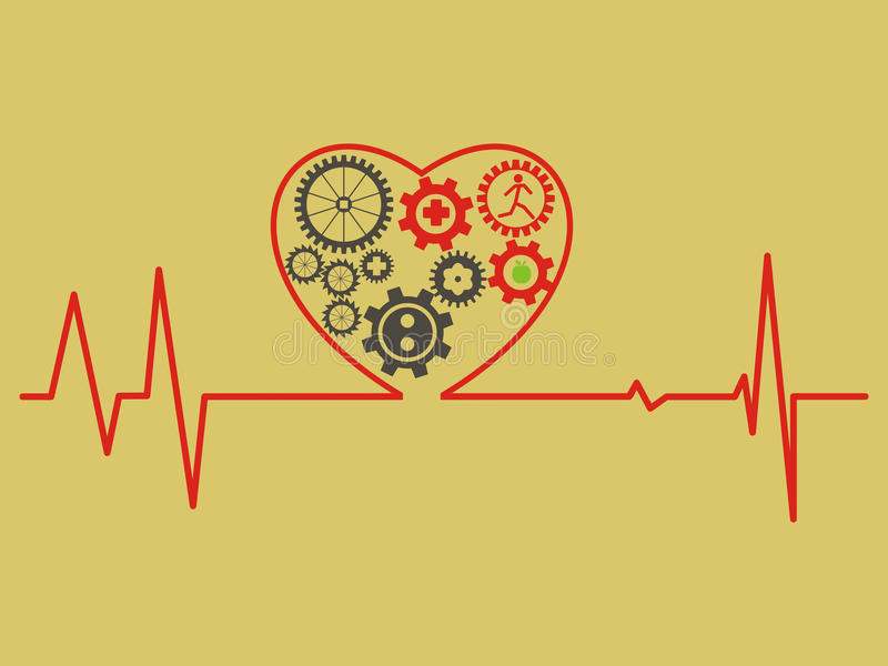 Concepto del cuidado médico cardiogram El símbolo del corazón consiste en el gea ilustración del vector