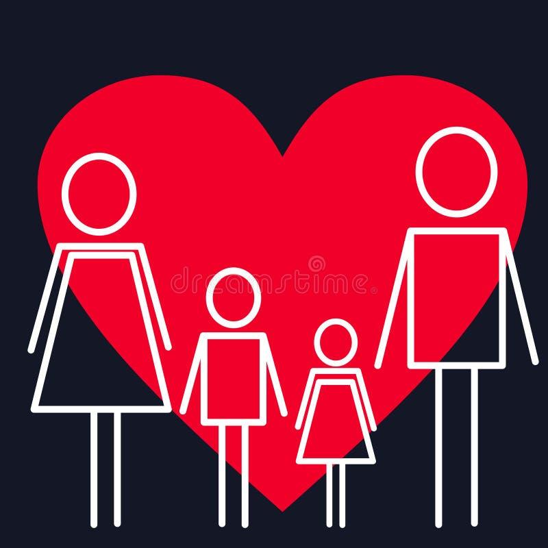 Concepto del cuidado médico Familia en el fondo con el corazón stock de ilustración