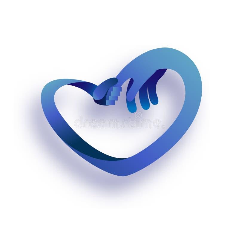 Concepto del cuidado y del amor Bebé infantil que lleva a cabo la mano de la mamá Día del `s de la madre Símbolo del corazón libre illustration