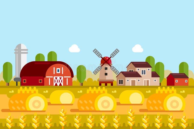 Concepto del cultivo y de la agricultura Vector el ejemplo plano de los campos de trigo, molino, casas del pueblo ilustración del vector