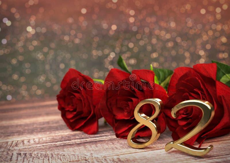 Concepto del cumpleaños con las rosas rojas en el escritorio de madera ochenta-segundo 72.o 3d rinden libre illustration