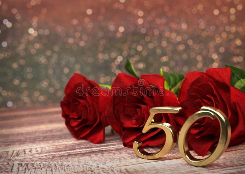 Concepto del cumpleaños con las rosas rojas en el escritorio de madera quincuagésimo cumpleaños 50.o 3d rinden stock de ilustración
