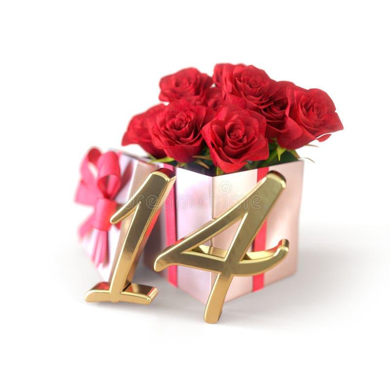 Concepto del cumpleaños con las rosas rojas en el regalo aislado en el fondo blanco catorceno ilustración del vector