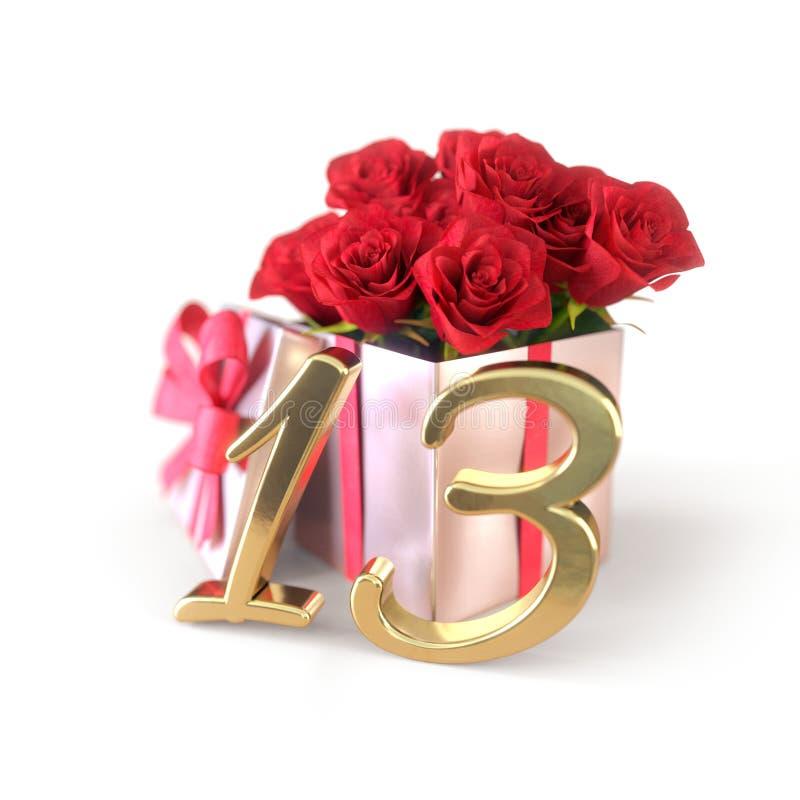 Concepto del cumpleaños con las rosas rojas en el regalo aislado en el fondo blanco décimotercer stock de ilustración