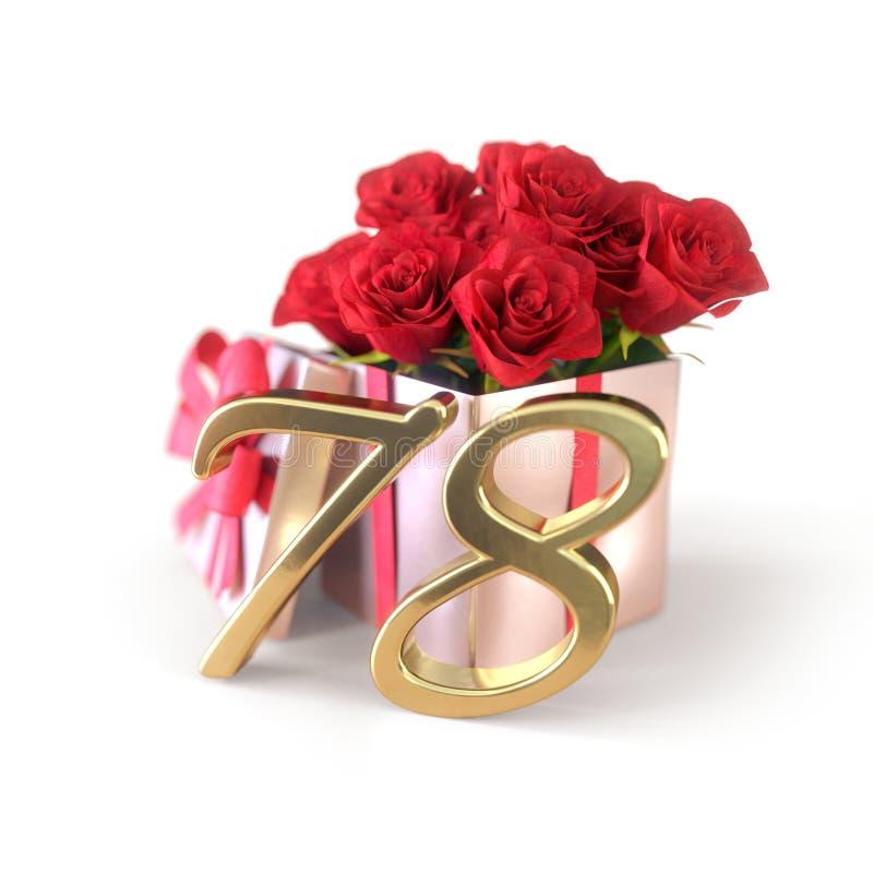 Concepto del cumpleaños con las rosas rojas en el regalo aislado en el fondo blanco setenta-octavo 78.o 3d rinden libre illustration