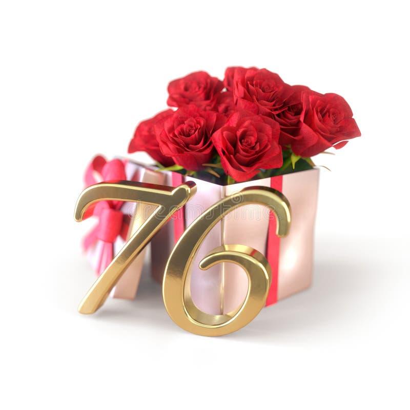 Concepto del cumpleaños con las rosas rojas en el regalo aislado en el fondo blanco setenta-sexto 76.o 3d rinden ilustración del vector