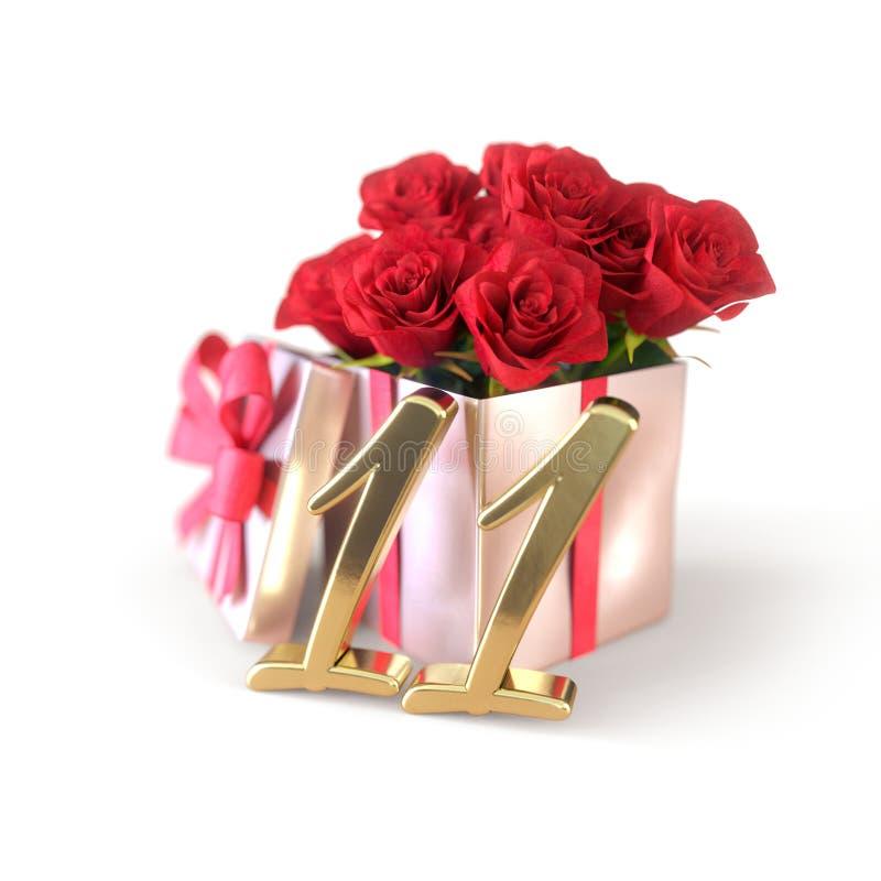 Concepto del cumpleaños con las rosas rojas en el regalo aislado en el fondo blanco undécimo stock de ilustración