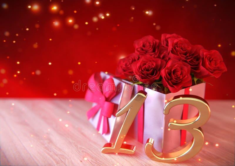 Concepto del cumpleaños con las rosas rojas en regalo en el escritorio de madera décimotercer décimotercero 3d rinden stock de ilustración