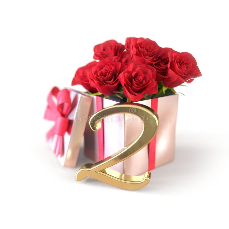 Concepto del cumpleaños con las rosas rojas en regalo en el fondo blanco second 2do 3d rinden ilustración del vector