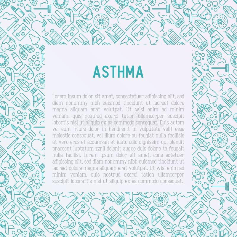 Concepto del día del asma del mundo con la línea fina iconos stock de ilustración
