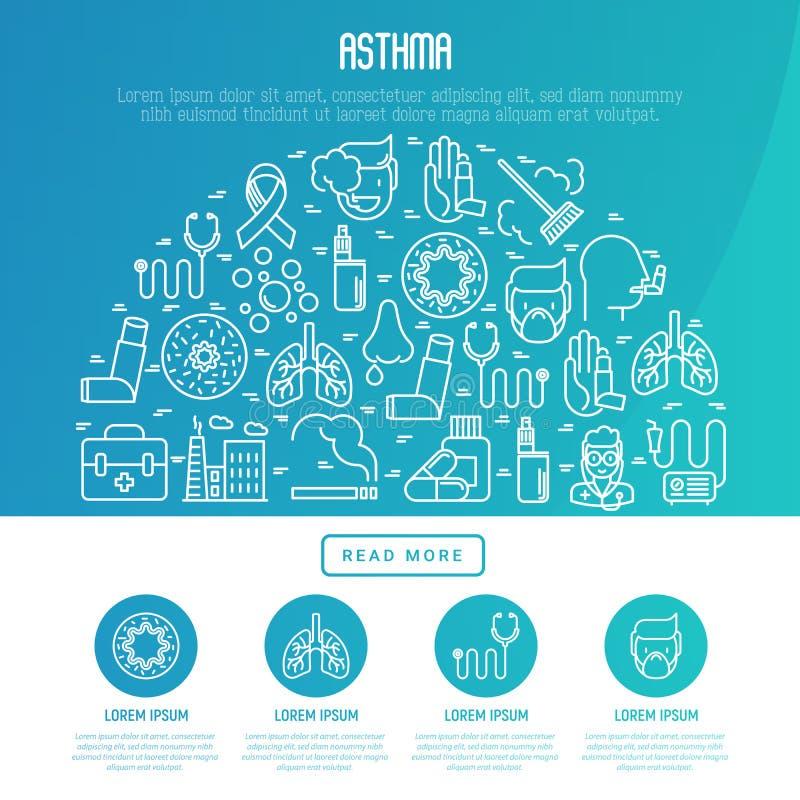 Concepto del día del asma del mundo con la línea fina iconos libre illustration
