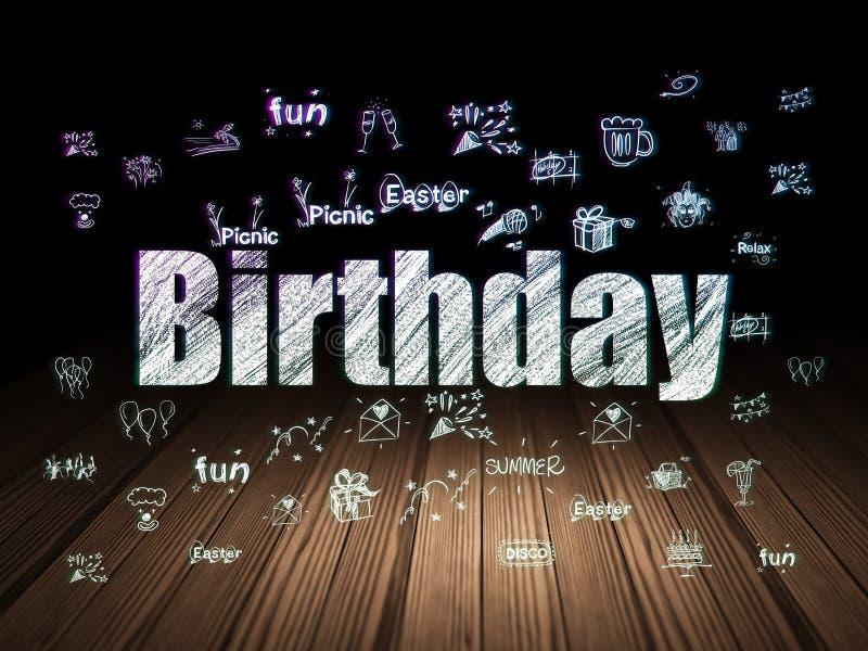 Concepto del día de fiesta: Cumpleaños en sitio oscuro del grunge ilustración del vector