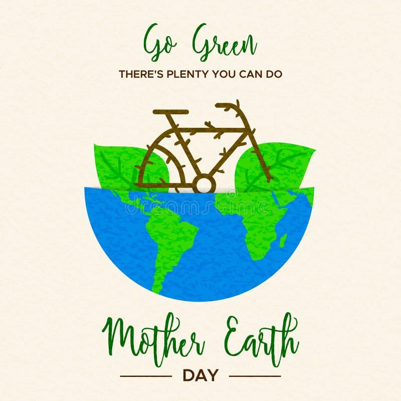 Concepto del Día de la Tierra de bici dentro del planeta verde stock de ilustración